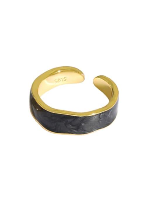 Gold [black gutta percha] 925 Sterling Silver Enamel Round Vintage Band Ring